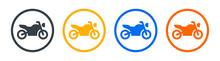Motorbike Or Motorcycle Icon Vector Illustration. Two Wheeled Vehicle Symbol. Transportation Concept