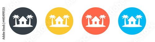 Fotografie, Obraz Cottage, hotel, resort, residence on island vector icon