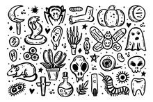 Black Scary Ink Vector Halloween Illustration. Skull, Druid Knife, Insect, Ghost, Rat, Poison, Eye, Pumpkin, Bone, Cross, Spider, Rune, Tooth, Herb, Death, Danger. Isolated On White Background.