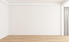 Minimalist Empty Room With Wooden Floor And White Wall. 3d Rendering