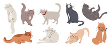 Cute And Funny Cats Doodle Vector Set. Cartoon Cat Or Kitten Characters Design Collection With Flat Color In Different Poses. Set Of Purebred Pet Animals Isolated On White Background.