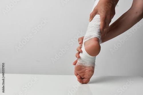 Fotografia bandaged leg health problems psychotherapy