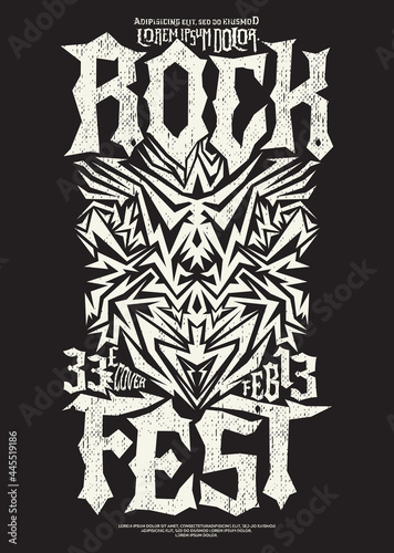 Obraz na plátně Hardcore Rock Fest design poster template Metal Festival post.