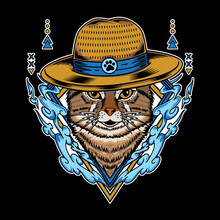 Cat Wearing Straw Hat And Have Water Element Vector Illustration Isolated On Black Background