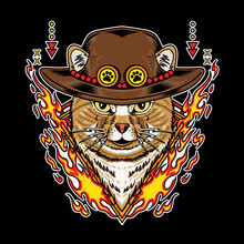 Cat Wearing Straw Hat And Have Fire Element Vector Illustration Isolated On Black Background