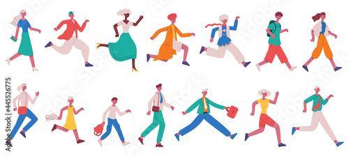 Fotografie, Obraz Running hurrying people