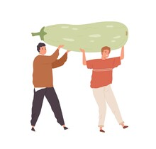 Tiny People Holding Huge Organic Squash. Vegans Carrying Big Local Farm Vegetable. Concept Of Vegetarian Food And Diet. Men And Harvest. Colored Flat Vector Illustration Isolated On White Background