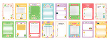 Daily Note Planners. Weekly Scheduler, To Do List, Note Paper Or Organiser Sheets With Hand Drawn Stickers Vector Illustration Set. Cute Doodle Daily Planner