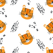 Cute Seamless Baby Pattern With Cartoon Tiger Head And Paw Prints. Vector Background For Kids