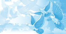 Pigeon Or Dove Above The Clouds Design Illustration Vector