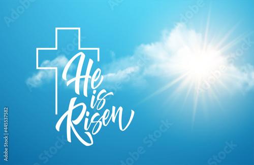 Obraz na płótnie He Was Resurrected Lettering Against Background Clouds Sun Background Congratula