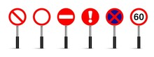 Set Of Traffic Signs Vector On White Background, Road Sign