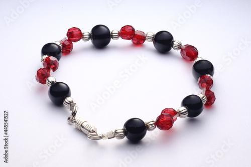 bransoletka srebrna z czarno czerwonymi cyrkoniami