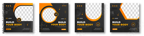 Fitness gym social media post banner template with black and yellow color, gym social media banner, fitness gym social media post banner. gym banner,  vector illustration