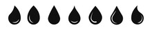 Water Drop Vector Icon. Water Or Rain Drops Shape Icons Set. Blood Or Oil Drop. Flat Style Isolated On White Background. Stock Vector Elements.