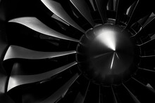 Modern Turbofan Engine. Close Up Of Turbojet Of Aircraft On Black Background. Blades Of The Turbofan Engine Of The Aircraft