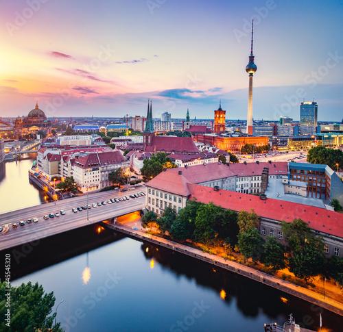 Fototapeta Berlin, Germany at sunset.
