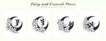 Set Of Fairy And Crescent Moon