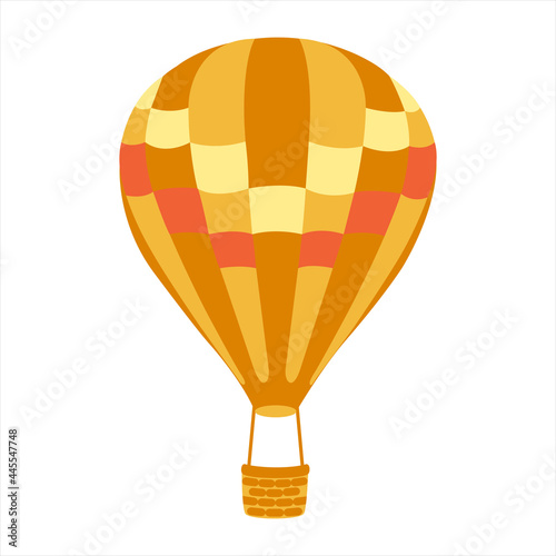 Fototapeta Orange striped hot air balloon with basket