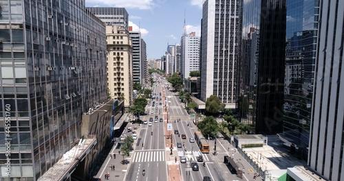 Aerial view of Avenida Paulista (Paulista avenue) in Sao Paulo city, Brazil Fotobehang