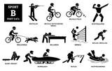 Sport games alphabet B vector icons pictogram. Biathlon, bicycle motocross, bicycle polo, bodybuilding, bikejoring, billiards, biribol, bolas criollas, blind cricket, bobsleigh, bocce, bodyboarding.
