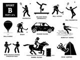 Sport games alphabet B vector icons pictogram. Badminton, balance beam gymnastic, ball hockey, ballooning, bandy, banger racing, barefoot skiing, bare knuckle boxing, barrel racing, and base jumping.