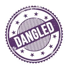 DANGLED Text Written On Purple Indigo Grungy Round Stamp.