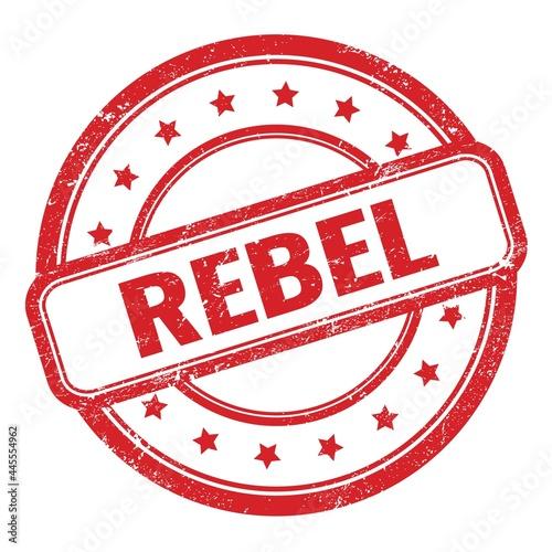 Carta da parati REBEL text on red grungy vintage round stamp.