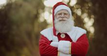 Santa Claus Smiling Looking At The Camera.