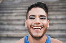 Portrait Of Young Gay Man With Makeup - Lgbt Community Concept - Focus On Face