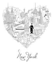 New York Detailed Skyline. Travel And Tourism Background. Vector Background. Line Illustration. Line Art Style