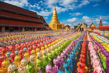 Colorful Lamp Festival And Lantern In Loi Krathong At Wat Phra That Hariphunchai, Lamphun Province Thailand