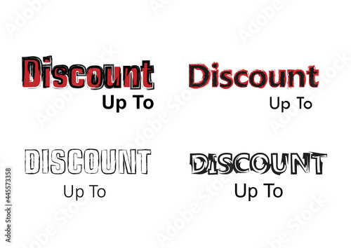 Fototapeta Discount lettering with a choice of more hardcore, simple themes with distinctive black and red colors