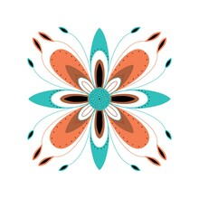 Colorful Decorative Mandala Icon. Oriental Pattern. Mandala. Abstract Mosaic  Pattern Icon Buttons Collection For Design Stock Illustration