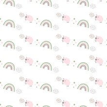 Seamless Pattern With Pink Sheep And Rainbows. For Baby Background Wallpaper For Nursery, Fabric And Clothing. Vector Illustration.