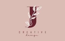 Red J Letter Logo Design With White Leaves Branch Vector Illustration.