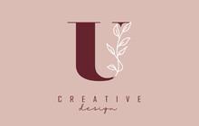 Red U Letter Logo Design With White Leaves Branch Vector Illustration.