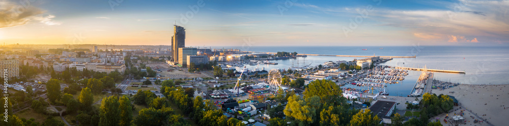 Aerial panorama of the harbor in Gdynia with modern architecture at sunset. Poland - obrazy, fototapety, plakaty
