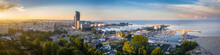 Aerial Panorama Of The Harbor In Gdynia With Modern Architecture At Sunset. Poland