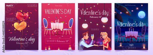Canvas-taulu Valentine's day banners set. Invitation for dating