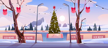 Christmas Ice Rink With Decorated Xmas Fir Tree
