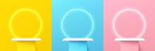 Set Of Abstract 3d Shelf Or White Stand Podium On Yellow, Blue, Pink Wall Scene Pastel Color With Neon Ring Background. Vector Rendering Geometric Shape For Cosmetic Product Display Presentation.