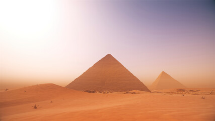 Scenic view of pyramids in the middle desert against a misty sky