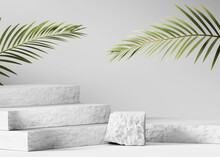 3D Background, Stone Podium Display. Green Tropical Palm. Cosmetics, Beauty Product Promotion White Pedestal.  Natural  Shadow, Rough Grey Rock Showcase. Abstract Minimal Studio 3D Render