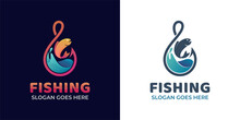 Modern Gradient Logos Of Fishing Hook With Wave Ocean With Fresh Fish For Fishing And Fisherman Logo