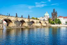 View Of Prague Castle And Charles Bridge Over Vltava River, Czech Republic