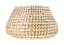 Side View Of Open Moroccan Wicker Basket Isolated
