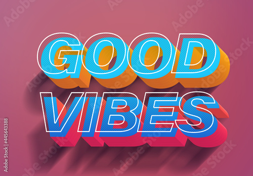 Colorful Vintage Eighties Vibes 3D Text Effect Style Mockup