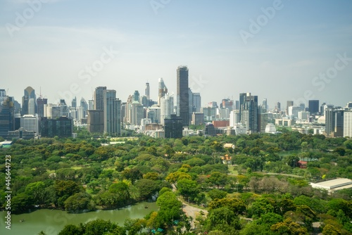 Public park and high-rise buildings cityscape in metropolis city center . Green environment city and downtown business district in panoramic view .