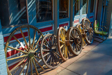 Old Wagon Wheels Wooden Western Vintage Antique Store Front